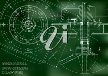 Mechanical engineering drawings. Vector. Green. Points