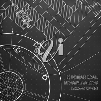 Backgrounds of engineering subjects. Technical illustration. Mechanical. Black background. Points