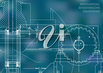 Engineering illustrations. Blueprints. Mechanical drawings. Technical Design. Banner. Blue background