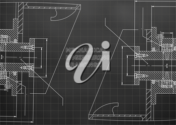 Mechanical engineering. Technical illustration. Backgrounds of engineering subjects. Black background. Grid