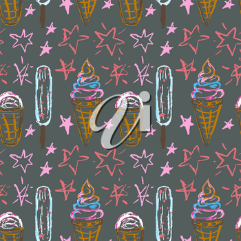 Cute stylish seamless pattern. Draw pictures, doodle. Beautiful and bright design. Interesting images for backgrounds, textiles, tapestries. Ice cream, stars. Summer
