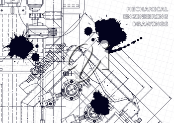 Machine-building industry. Instrument-making drawings. Computer aided design systems. Black Ink. Blots. Mechanical