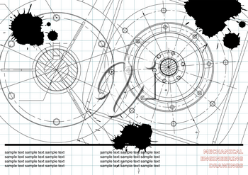 Vector Mechanical engineering drawings on a white background. Background for inscription. Draft. Black Ink. Blots