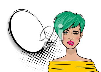 Beautiful sexy swag girl, short green hair winks, open mouth style pop art speak oops. Comics book retro halftone background. Vector colored dot illustration. Empty blank comic text speech bubble