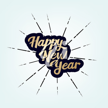 Happy New Year. Vintage lettering text for Happy New Year or Merry Christmas. Holiday background with golden bokeh number 2021. Dark vector Illustration