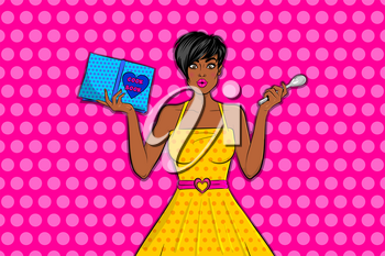 Beautiful black pop art girl surprised face hold cooking book and try cooking. Bright fashionable vector illustration of emotions. Cartoon black woman in yellow dress pop art on pink halftone background.