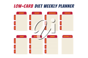 Comics text diet weekly planner isolated on white background. Food menu plan for diet. Daily schedule template for cooking meals. Week plan low carb menu notes.