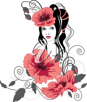 abstract background with a girl and red flowers
