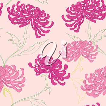 hand drawing vector seamless pattern with flowers