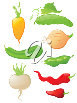 set of vector  glossy vegetable icons