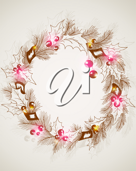 vector hand drawn retro Christmas background with wreath