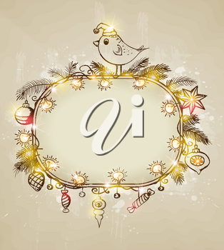 Vector shining  Christmas background with bird and decorations