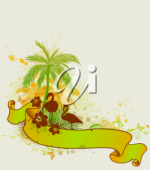 Summer tropical background with palms and flamingo