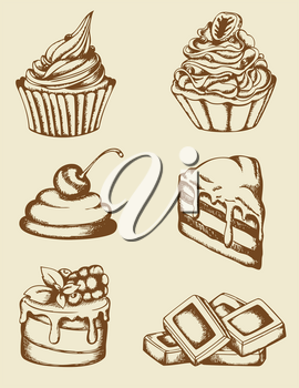 Set of vintage hand drawn cakes and chocolate
