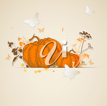 Autumn vector background with pumpkins and butterflies
