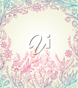 Hand drawn vector floral background