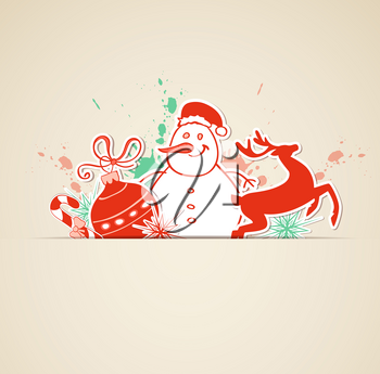 Vector Christmas background with cut out paper decorations