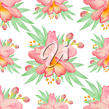Watercolor seamless pattern with red orchids and green leaves
