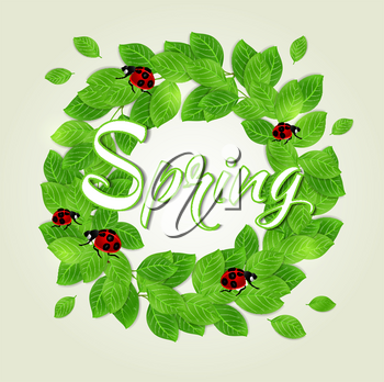 Round floral frame with green leaves and ladybug. Vector illustration.