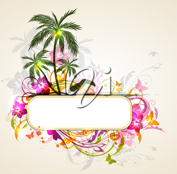 Vector bright tropical background with palms and toucan. Summer banner with tropical flowers.