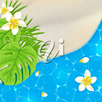 Sandy beach and blue sea water. Tropical vector background with flowers and green leaves.