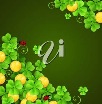 Green abstract background with clover leaves and golden coins for St. Patrick's Day