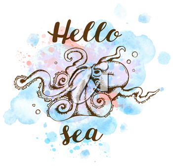 Hand drawn marine summer background with blue watercolor texture and octopus