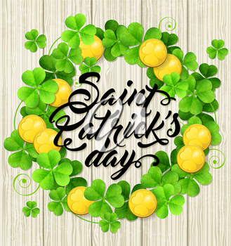 Wreath of green clover leaves and golden coins on a wooden background. Card design for St. Patrick's day.