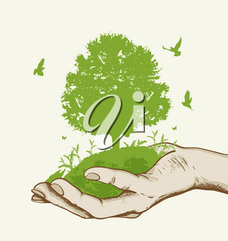 Green tree and birds in the hand. Ecology concept.