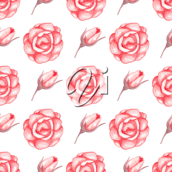 Hand drawn watercolor seamless pattern with red roses on a white background