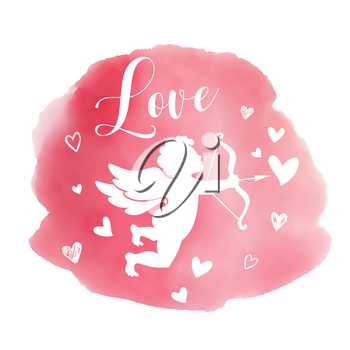 Pink watercolor romantic Valentine background with silhouette of cupid and hearts. Vector illustration.