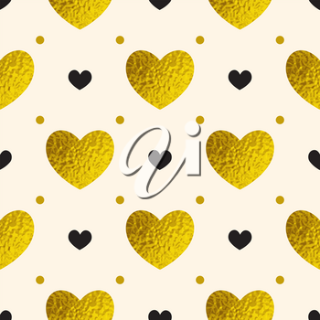 Decorative festive seamless pattern with golden and black hearts. Vector background for Valentine's day