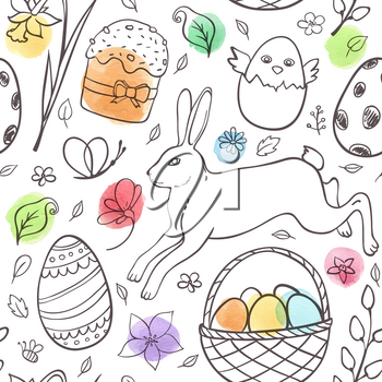 Hand drawn doodle Easter seamless pattern with rabbit and watercolor blots on a white background