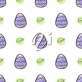 Hand drawn doodle Easter seamless pattern with eggs on a white background. Vector illustration.