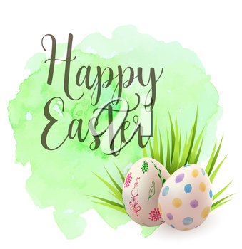 Decorative vector Easter greeting card with eggs, grass and green watercolor texture.