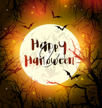 Halloween greeting card with full moon, bats and black silhouettes of tree. Vector illustration