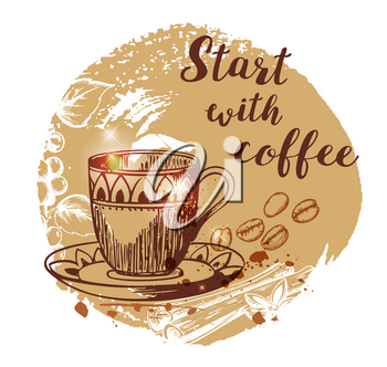 Cup of coffee and coffee beans. Hand drawn vector background in vintage style. Lettering Start with coffee