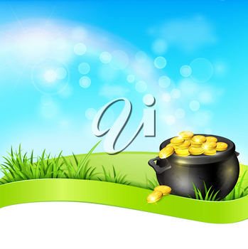 Festive background with pot of gold in a green grass. Design for St. Patrick's Day. Vector illustration