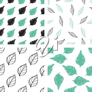 Set of decorative vector floral seamless patterns with green and black leaves on a white background