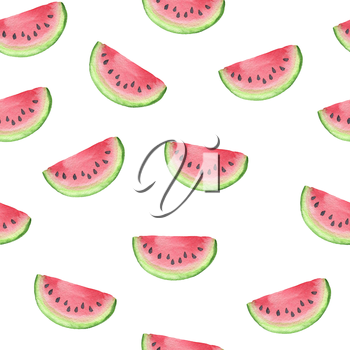 Summer watercolor seamless pattern with slices of red ripe watermelon on a white background