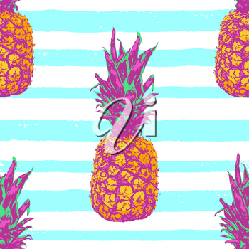 Tropical vector seamless pattern with pineapple on a blue striped background. Retro style with vibrant colors.