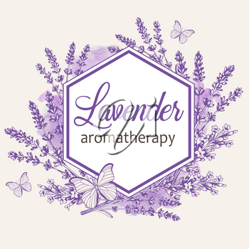 Vintage floral frame with lavender flowers and butterflies. Spa and aromatherapy ingredients. Hand drawn vector background.