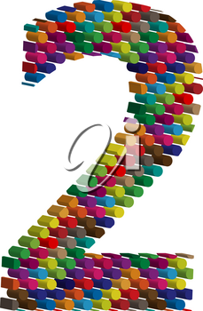 Colorful three-dimensional font number 2
