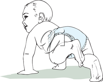 illustration of Crawling baby boy in diaper