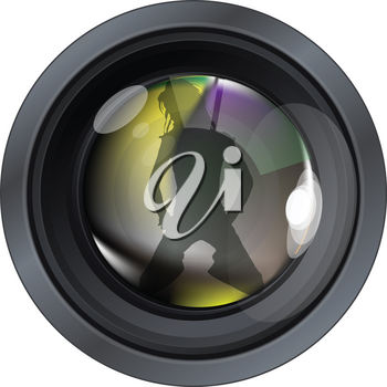 Professional photo lens. Editable vector illustration