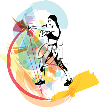 Boxing training woman in gym Vector illustration