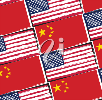 USA and China flags or banner vector illustration
