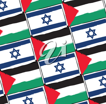 ISRAEL and PALESTINE flags or banner vector illustration