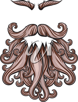 Curly Beard mustache and eyebrows with an empty place for the face of some evil character or pirate or viking