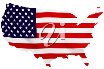 USA Flag in the form of maps of the United States on a white background